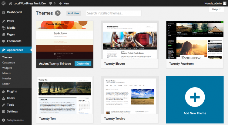 new-wp-theme-selection